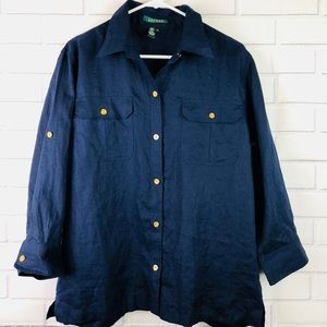 Ralph Lauren xl top 100% linen blue button down